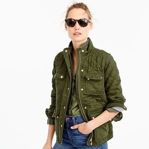 J.Crew Quilted Downtown Field Jacket in Deep Moss